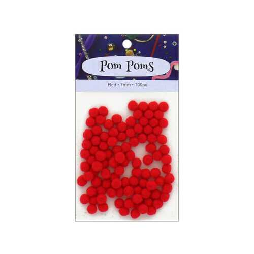 100pc Red Pom Poms ( Case of 72 )