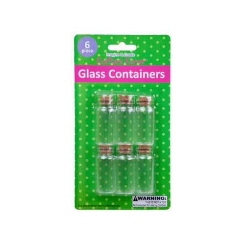 6 Pk Glass Containers w/Cork Stopper ( Case of 12 )