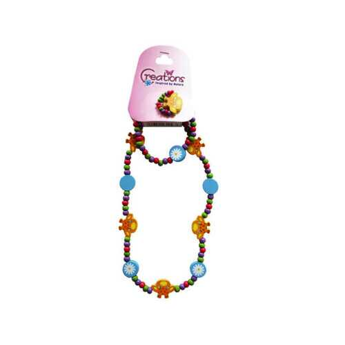creations 3 piece giraffe themed necklace bracelet & ring se ( Case of 48 )