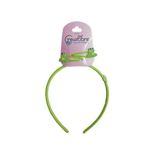 Creations 3 Piece Frog Themed Headband & Clips Set ( Case of 24 )