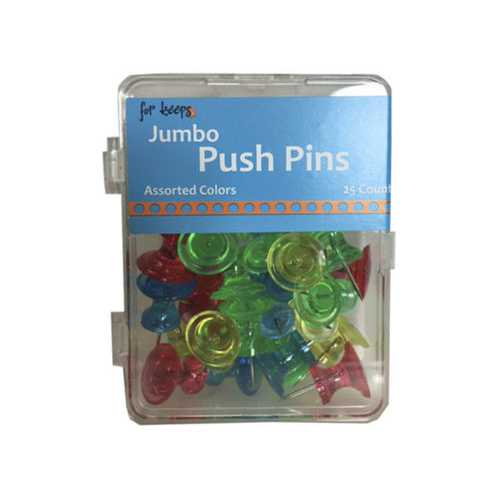 25 Count Jumbo Push Pins in Assorted Colors ( Case of 24 )