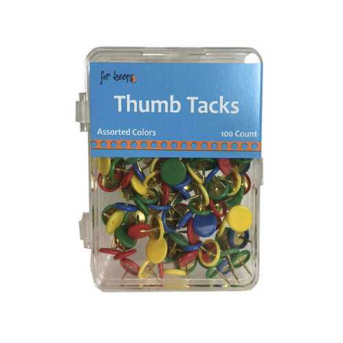 100 Count Thumb Tacks in Assorted Colors ( Case of 24 )