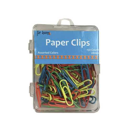 150 count paper clips in assorted colors ( Case of 24 )