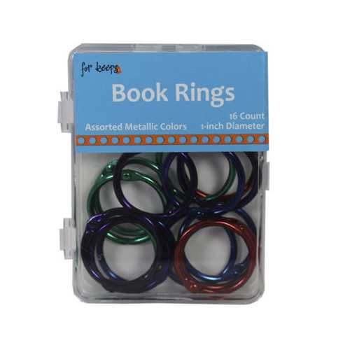 16 Count Book Rings in Assorted Metallic Colors ( Case of 72 )