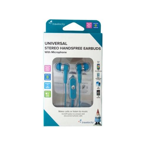 Blue Travelocity Universal Stereo Handsfree Earbuds ( Case of 12 )