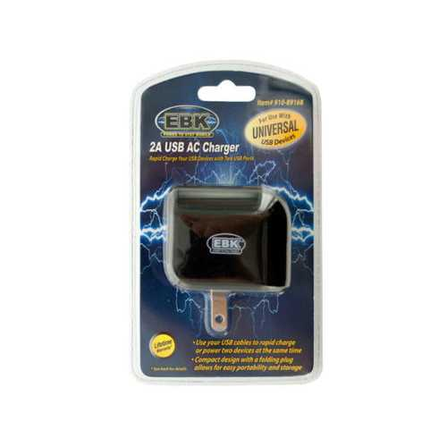 2 Amp Universal Dual Port USB AC Charger ( Case of 24 )