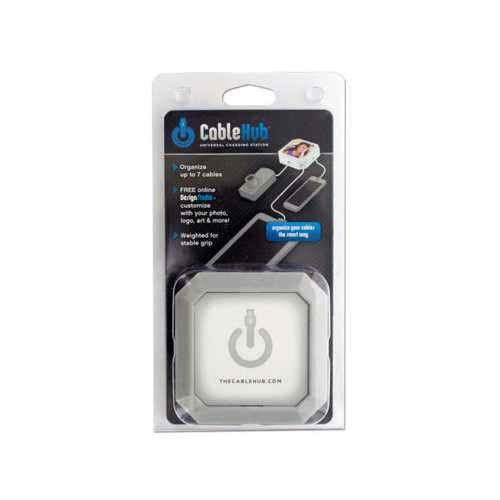 Square Silver CableHub Customizable Universal Charging Station ( Case of 24 )
