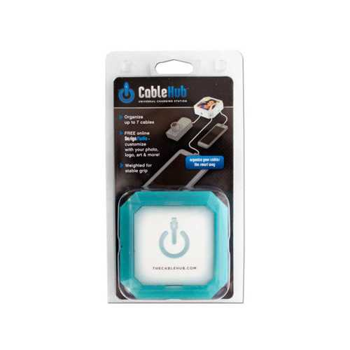 Square Blue Glow CableHub Customizable Universal Charging Station ( Case of 36 )
