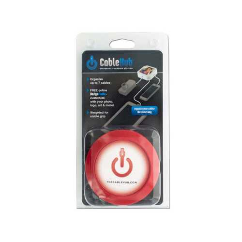 Round Red CableHub Customizable Universal Charging Station ( Case of 36 )