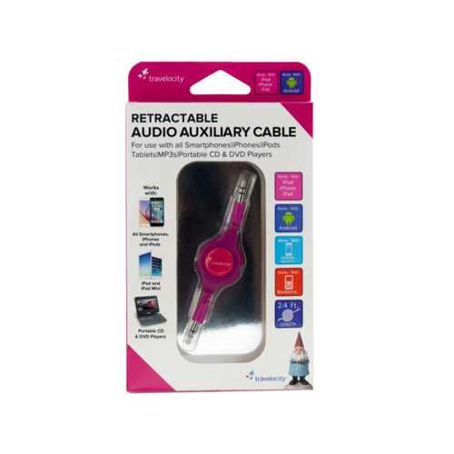 Travelocity Pink Retractable Audio Auxiliary Cable ( Case of 24 )