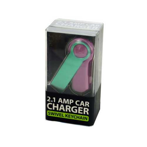 Car Charger Swivel Keychain Accessory ( Case of 24 )