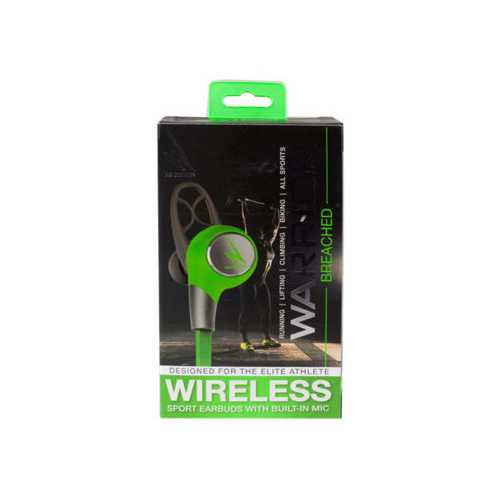 iHip Warrior Wireless Bluetooth Sport Earbuds - Grey/Green ( Case of 2 )