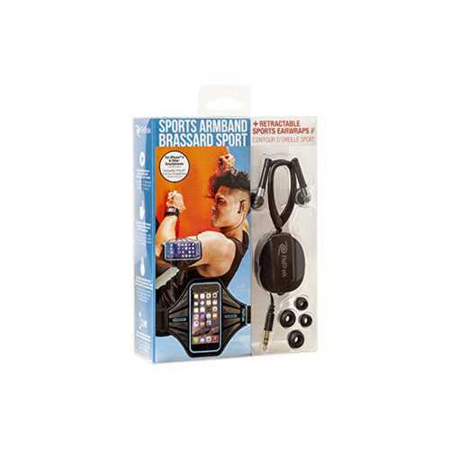 Blue Smart Phone Armband with Retractable Sports Wrap Earbud ( Case of 18 )