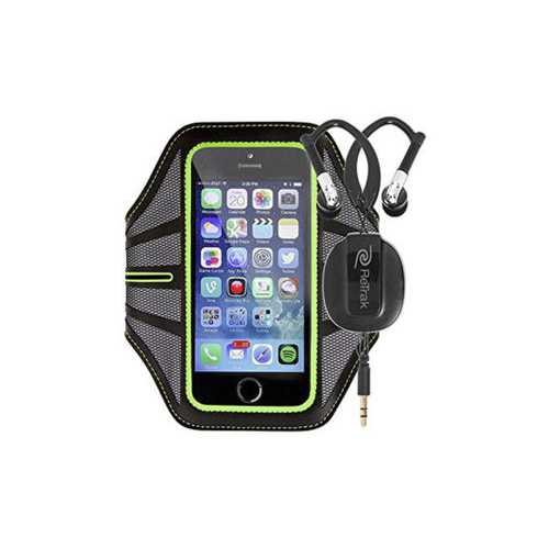 Green Smart Phone Armband with Retractable Sports Wrap Earbu ( Case of 6 )