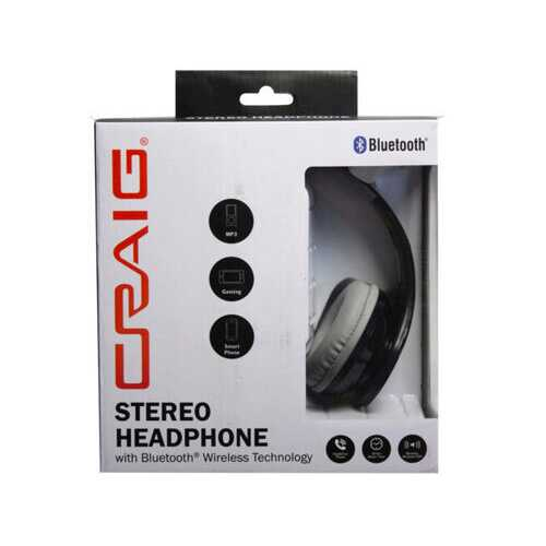 CRAIG Bluetooth Stereo Headset in Black ( Case of 2 )