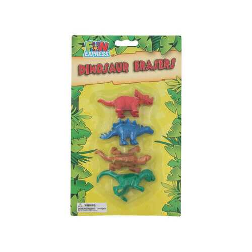 4 Pack Colorful Dinosaur Erasers ( Case of 72 )