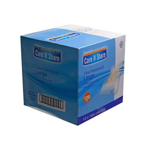 10 Count Clear Waterproof Large Bandages ( Case of 72 )