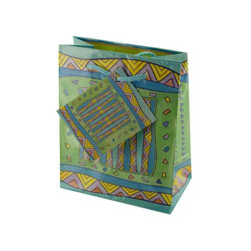Small Multi-Color Geometric Gift Bag ( Case of 36 )