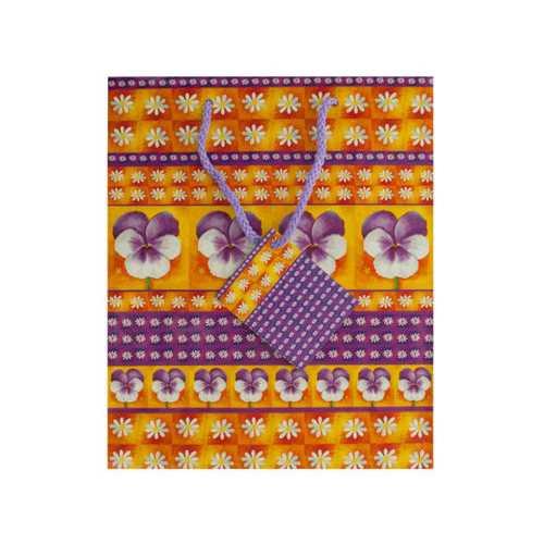 Medium Purple Floral Gift Bag ( Case of 36 )