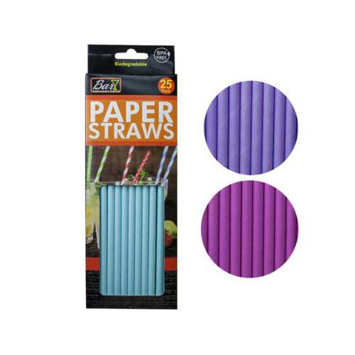 25 Pack Paper Drinking Straws ( Case of 24 )