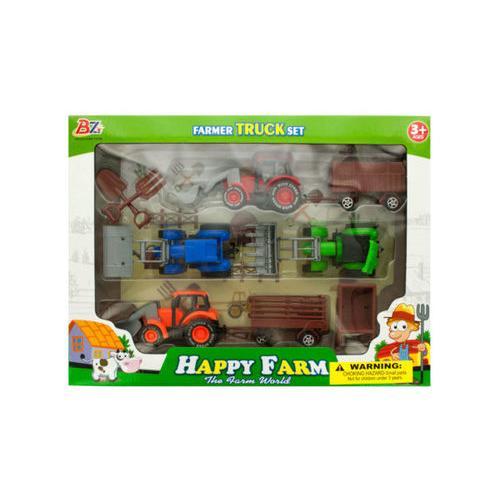 Farm Tractor Truck & Trailer Set ( Case of 6 )