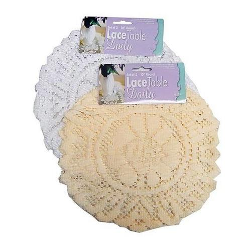 White Round Lace Table Doily Set ( Case of 48 )