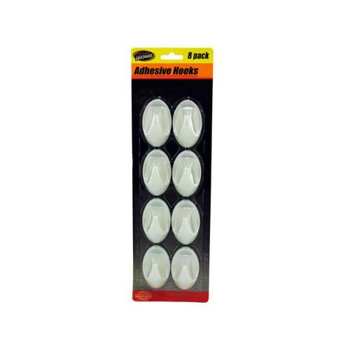 Oval Shape Plastic Adhesive Hooks ( Case of 12 )