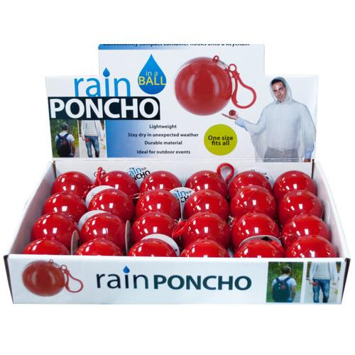 Rain Poncho in a Ball Countertop Display ( Case of 24 )