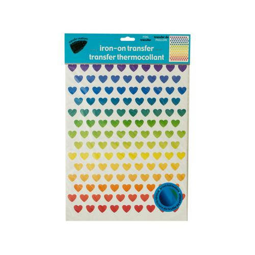 Iron-On Foil Rainbow Hearts Transfers Set ( Case of 24 )