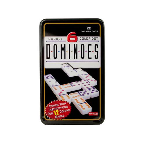 Double-Six Color Dot Dominoes Game Set ( Case of 6 )
