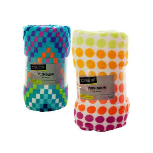 Colorful Print Plush Throw Blanket ( Case of 8 )