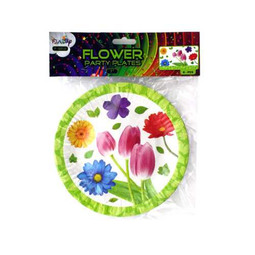 """7"""" Floral Party Paper Plates ( Case of 24 )"""