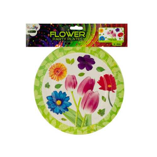 """9"""" Floral Party Paper Plates ( Case of 24 )"""