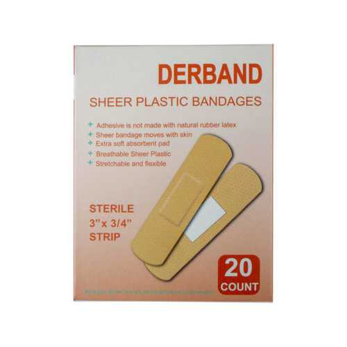Derband 20 Count 3''x 3/4'' Sheer Plastic Bandages ( Case of 25 )