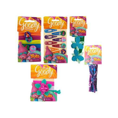 Goody Girls Trolls Hair Accessory Assortment ( Case of 72 )