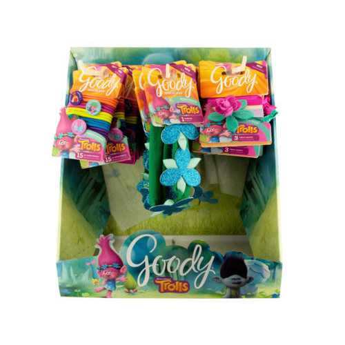 Goody Girls Trolls Hair Elastics & Headwraps Countertop Display ( Case of 24 )