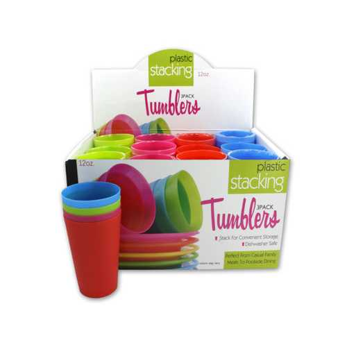 12 oz Plastic Stacking Tumblers Countertop Display ( Case of 48 )