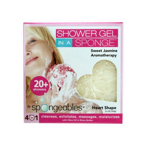 Spongeables Sweet Jasmine 4-in-1 Heart Shape Shower Sponge ( Case of 60 )