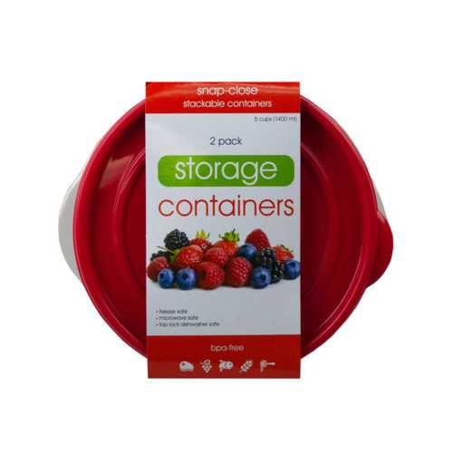 2 Pack Plastic Round Food Container ( Case of 6 )