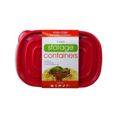 3 Pack Plastic Rectangular Food Container ( Case of 6 )