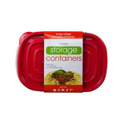 3 Pack Plastic Food Container with 2 Sections ( Case of 18 )