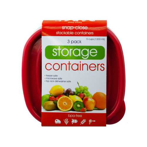 3 Pack Plastic Deep Square Food Container ( Case of 6 )