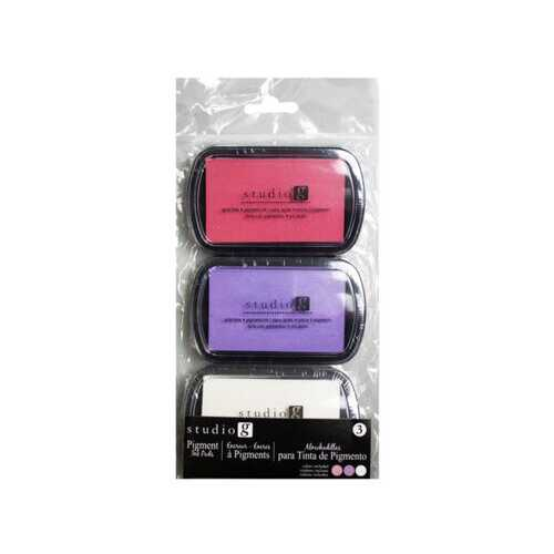 3pk Ink Pad in Pink/Purple/White ( Case of 24 )