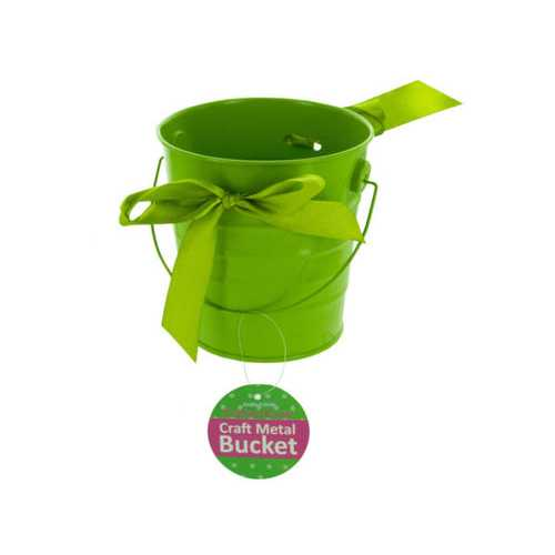 Mini Metal Craft Bucket with Ribbon ( Case of 12 )