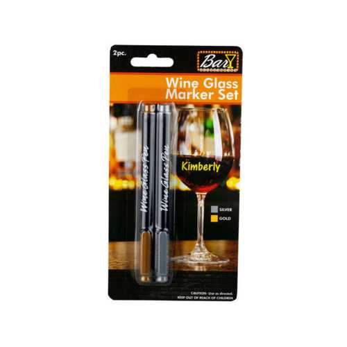 2pc Wine Glass Pen Silver & Gold ( Case of 36 )