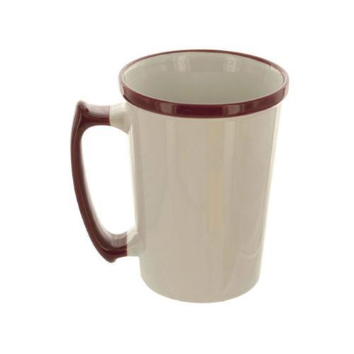 15 oz Tall White Mug with Maroon Rim & Handle ( Case of 16 )