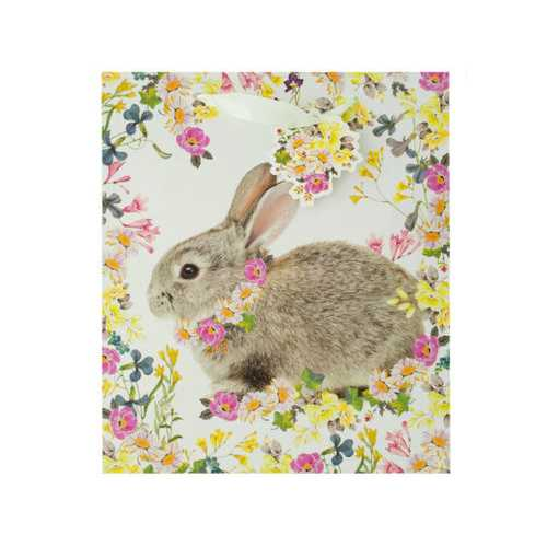 Bunny Floral Gift Bag with Tag ( Case of 20 )
