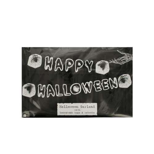 Happy Halloween Banner with Honeycomb Bugs & Cobwebs ( Case of 72 )