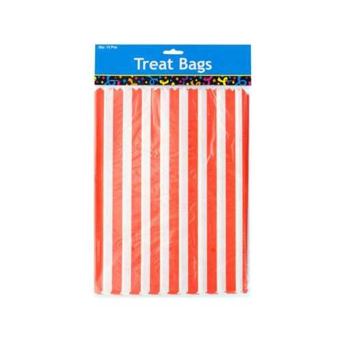 Orange Striped Paper Treat Bags ( Case of 24 )