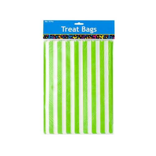 Lime Green Striped Paper Treat Bags ( Case of 24 )